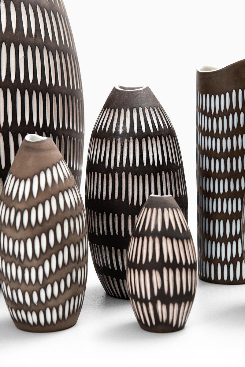 Vintage Ceramic  Stoneware Vase from Swedish Upsala Ekeby by Designer Ingrid Atterberg  Mid Century Modern  MCM Scandinavian Decor