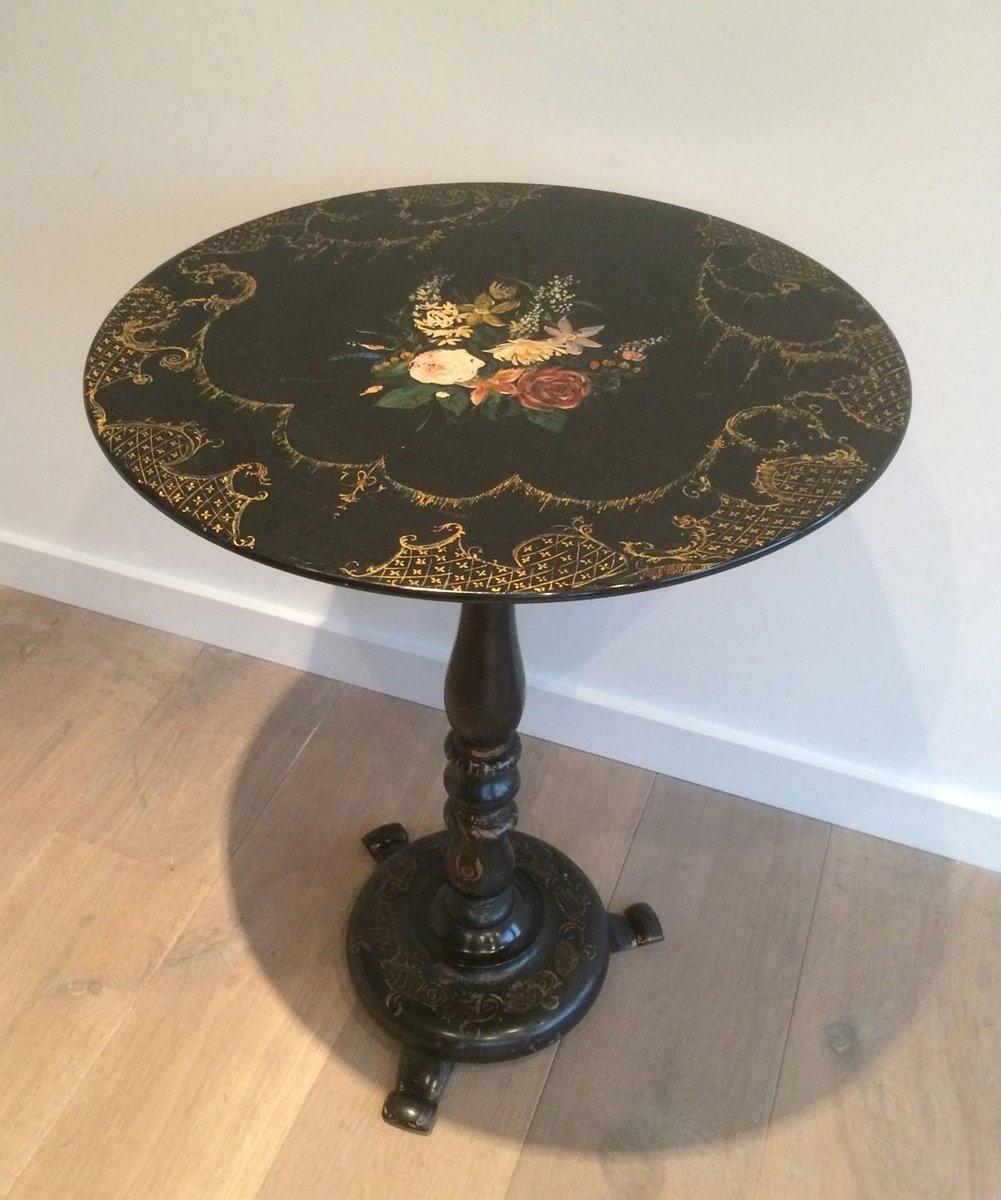 table d 39 appoint napoleon iii dor e peinte avec motifs floraux en vente sur pamono. Black Bedroom Furniture Sets. Home Design Ideas