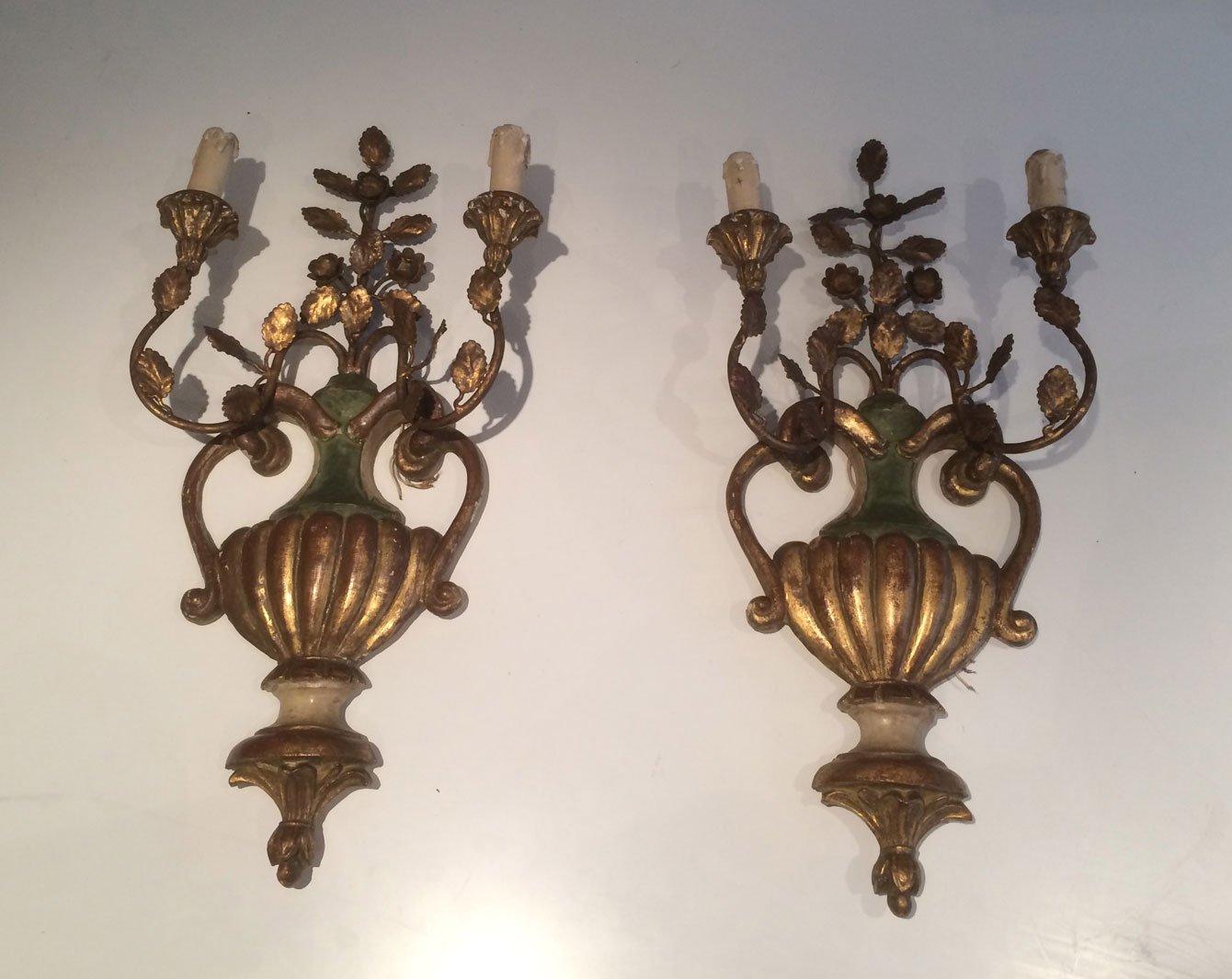 Applique vintage in legno dorato e intagliato italia set di 2 in