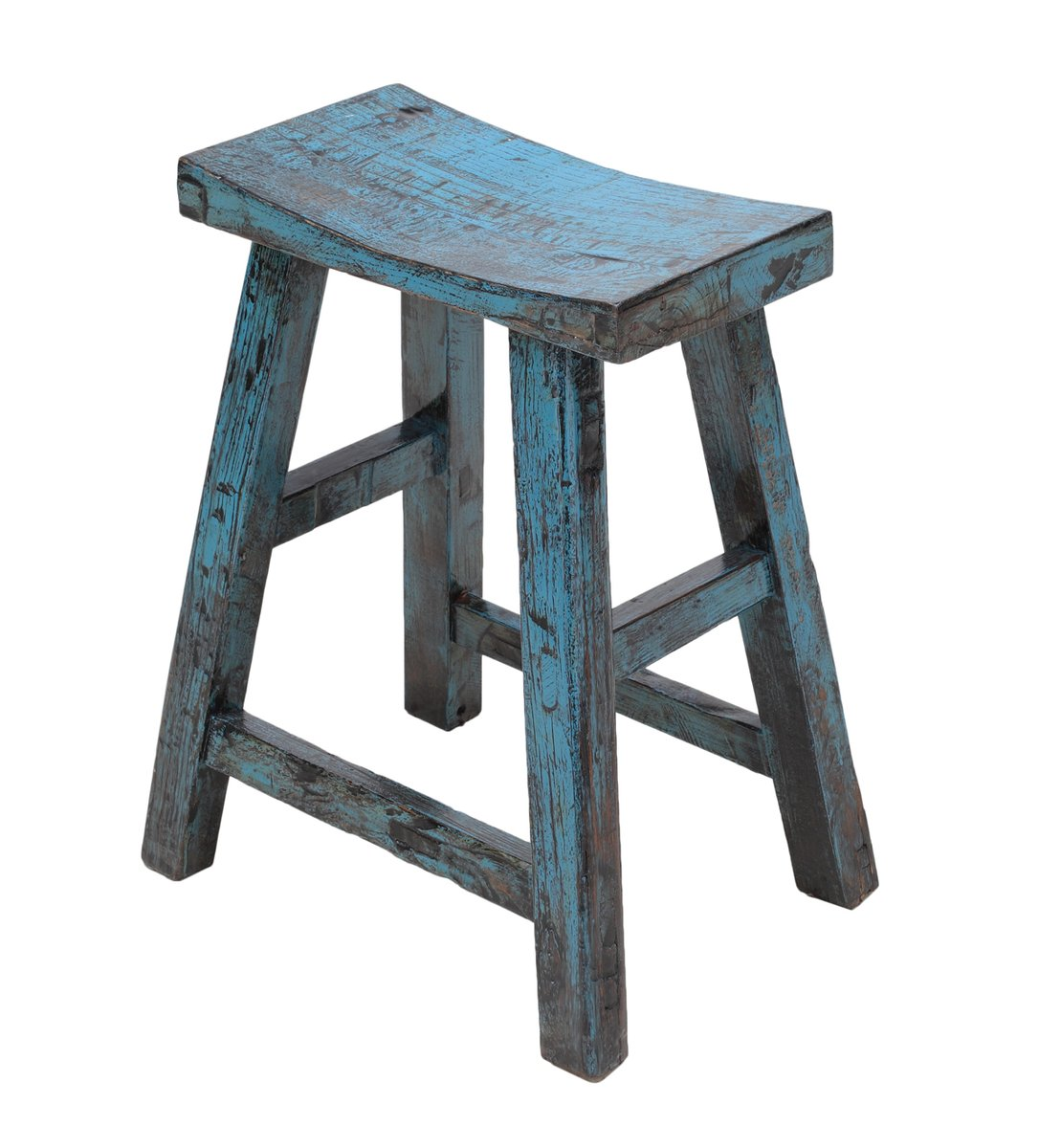 Vintage Blue Lacquered Curved Top Stool For Sale At Pamono