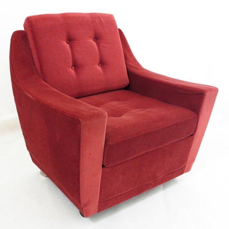 Roter Vintage Kord Sessel