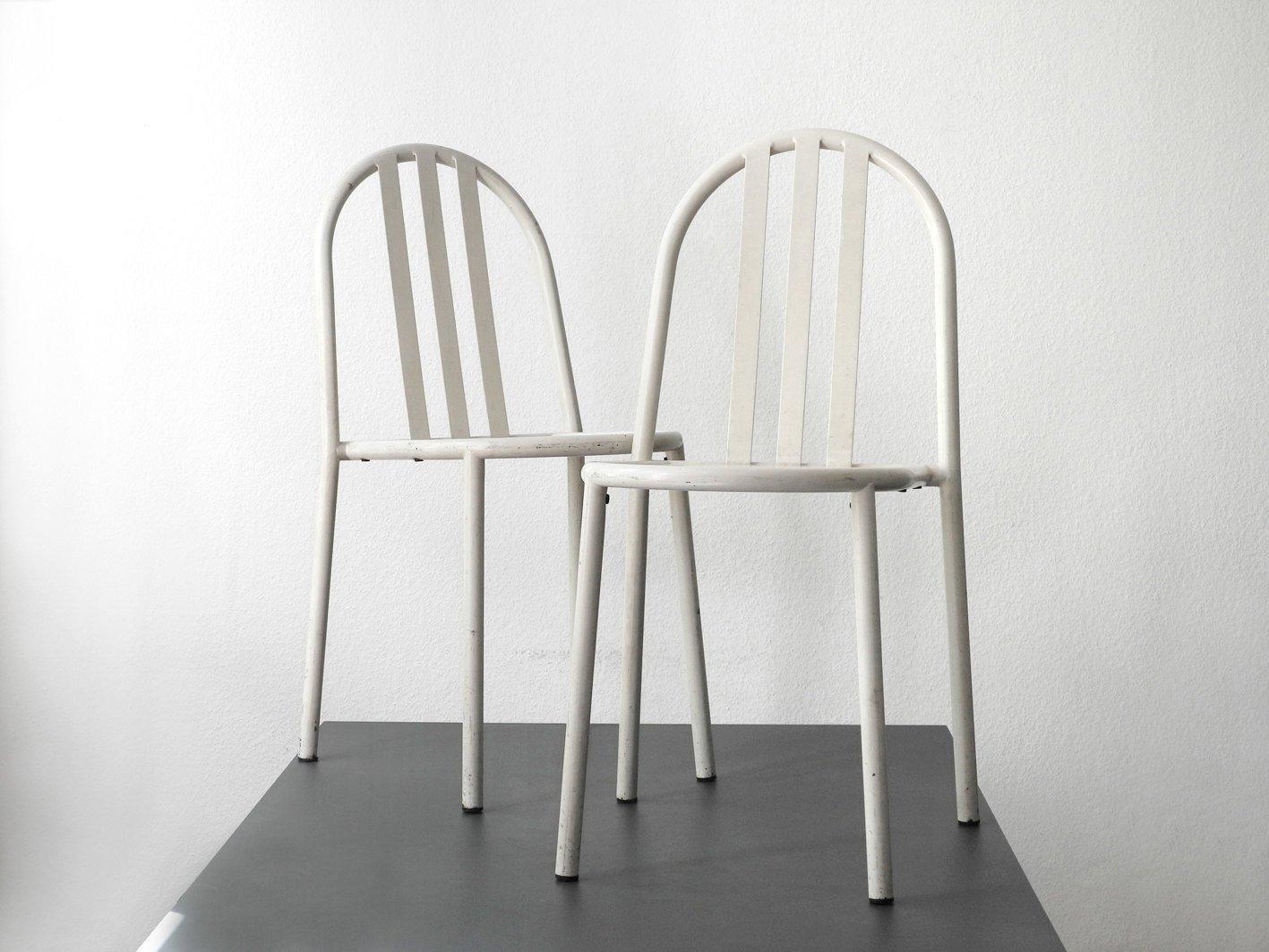 chaises de salon blanches par robert mallet stevens set de 2 en vente sur pamono. Black Bedroom Furniture Sets. Home Design Ideas