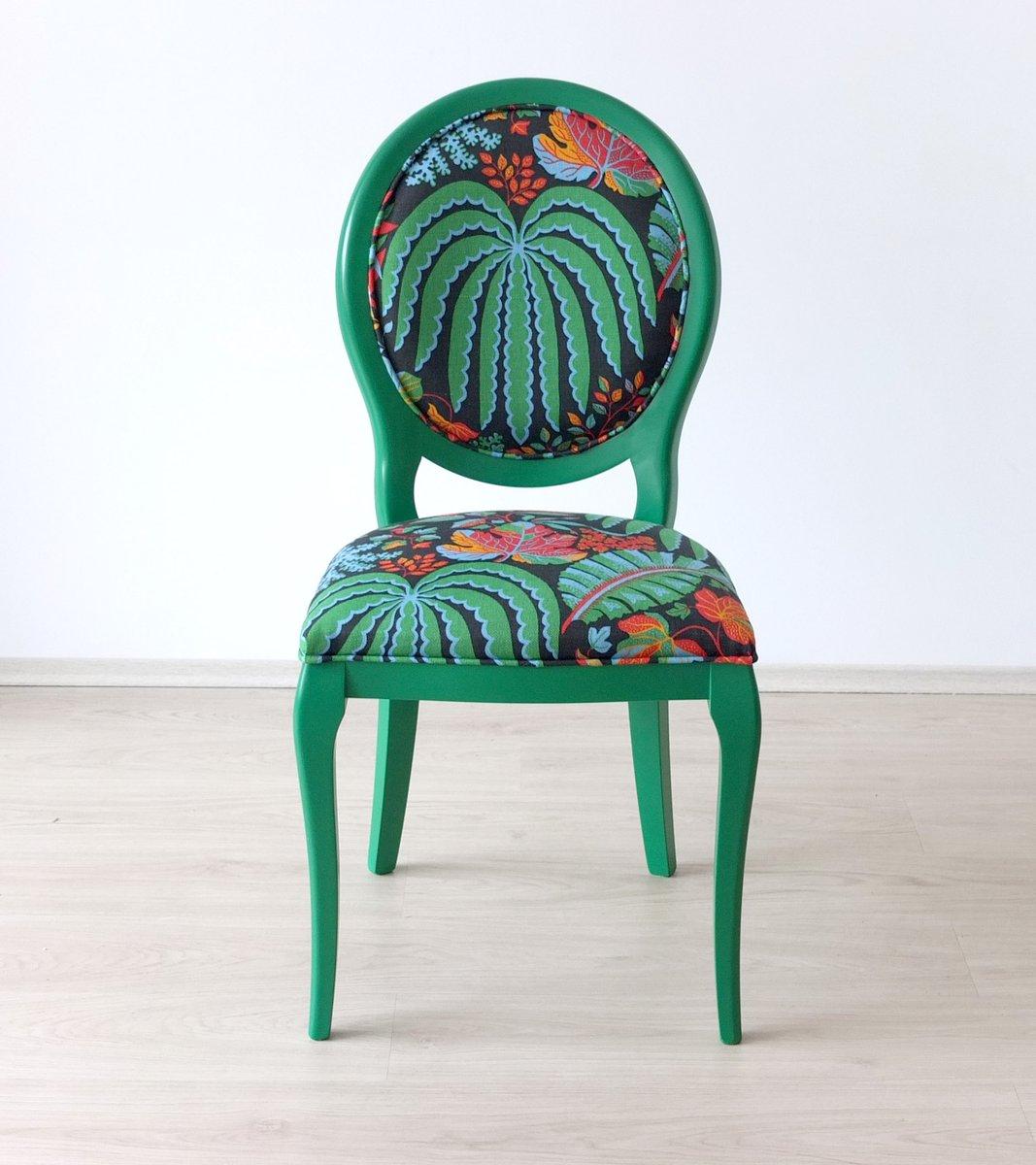 chaise en h tre avec tissu tropical sanderson 2015 en vente sur pamono. Black Bedroom Furniture Sets. Home Design Ideas