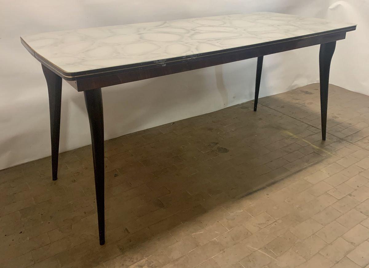Tavolo Da Pranzo Mid Century Con Ripiano In Vetro Anni 60 In Vendita Su Pamono