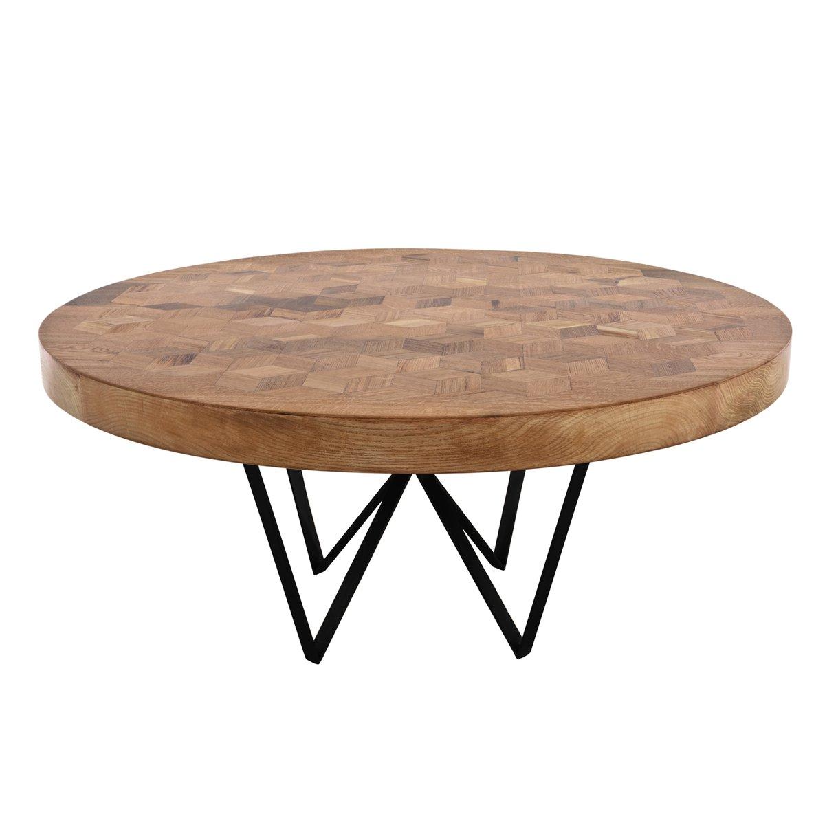 Tavolo rotondo Maurits in legno di quercia riciclato con intarsi di ...