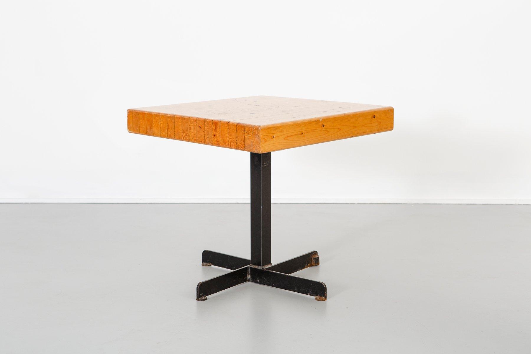 anpassbarer quadratischer vintage les arcs tisch von charlotte perriand bei pamono kaufen. Black Bedroom Furniture Sets. Home Design Ideas