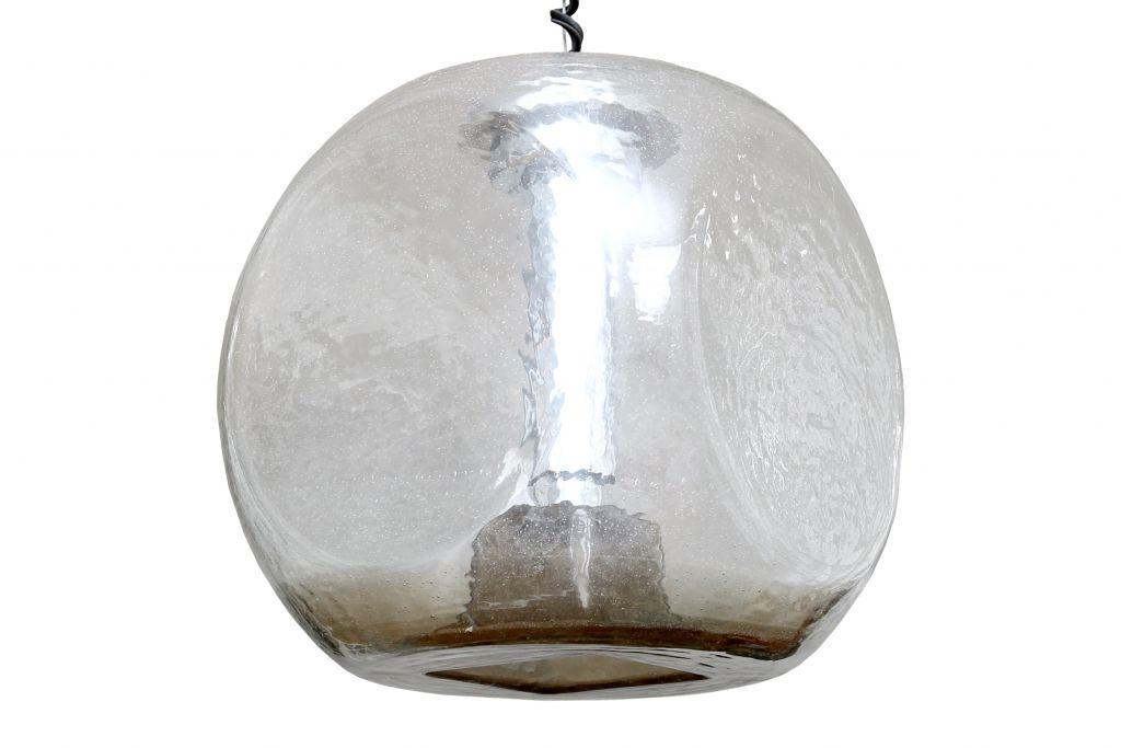 Lampada Sospensione Vetro Metallo Alien : Lampada a sospensione sferica in vetro e metallo cromato