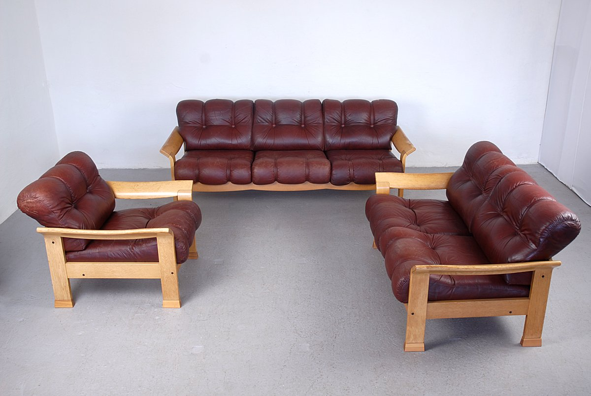 Charmant Vintage Danish Brown Leather 3 Piece Sofa Set