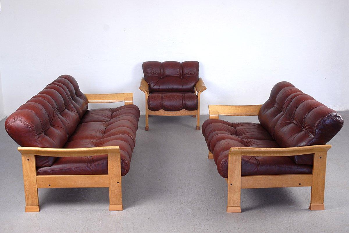 vintage danish brown leather 3 piece sofa set for sale at pamono. Black Bedroom Furniture Sets. Home Design Ideas