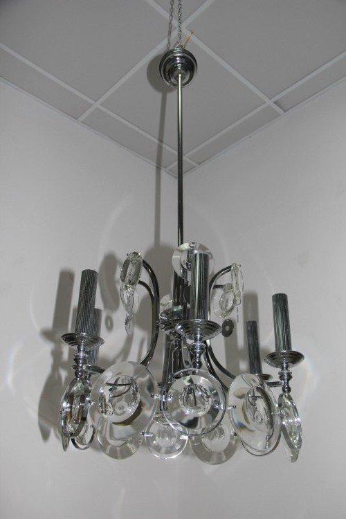 Stahl und Kristall Kronleuchter von Oscar Torlasco für Esperia