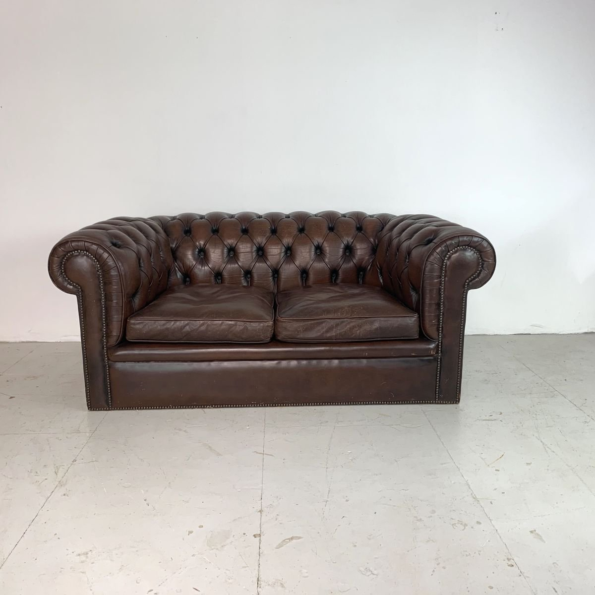 Vintage British Brown Leather Chesterfield Sofa 1960s For Sale At Pamono