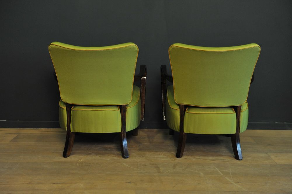 gr ne cocktail lehnsessel 1950er 2er set bei pamono kaufen. Black Bedroom Furniture Sets. Home Design Ideas
