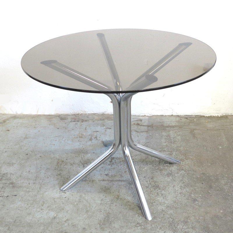 Vintage Tisch aus Chrom und Rauchglas, 1970er