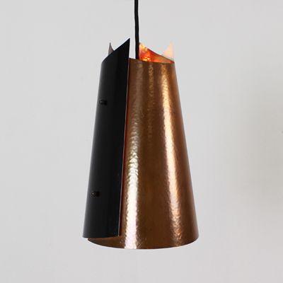 Dänische Metall und Kupfer Hängelampe, 1965