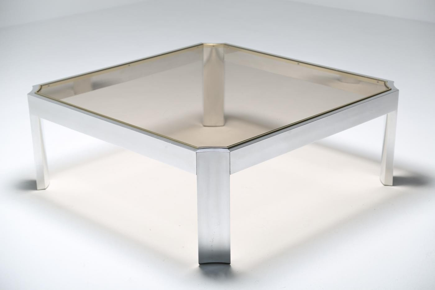 Mid Century Gl Coffee Table With Aluminium Base