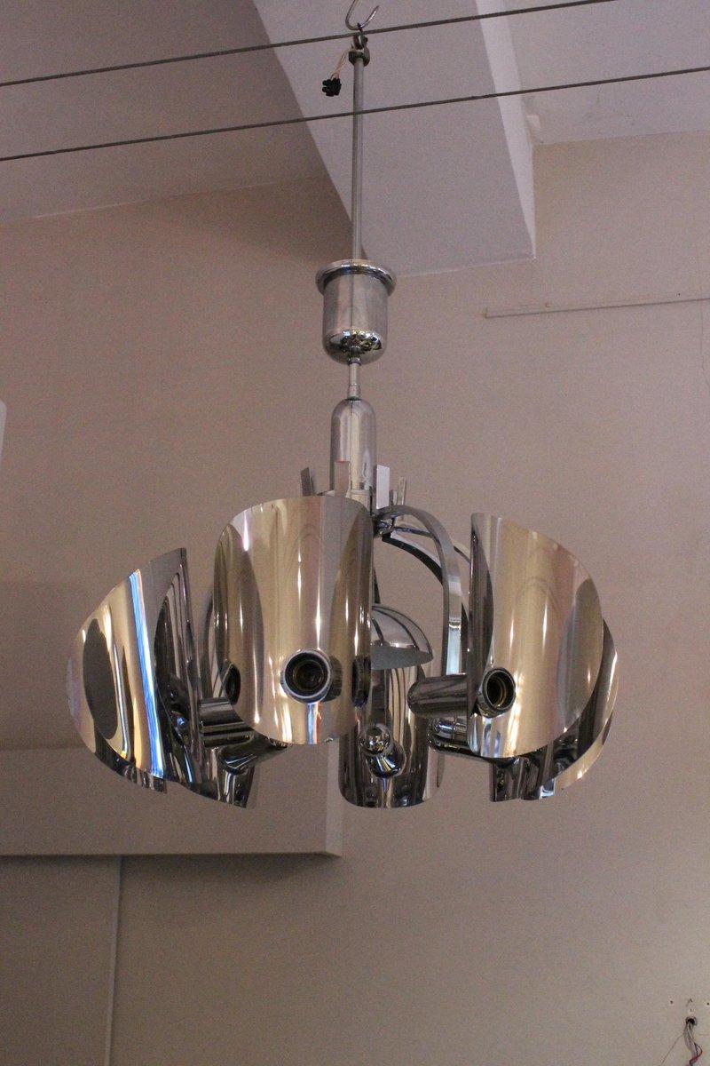 Italienische Verchromte Vintage Deckenlampe