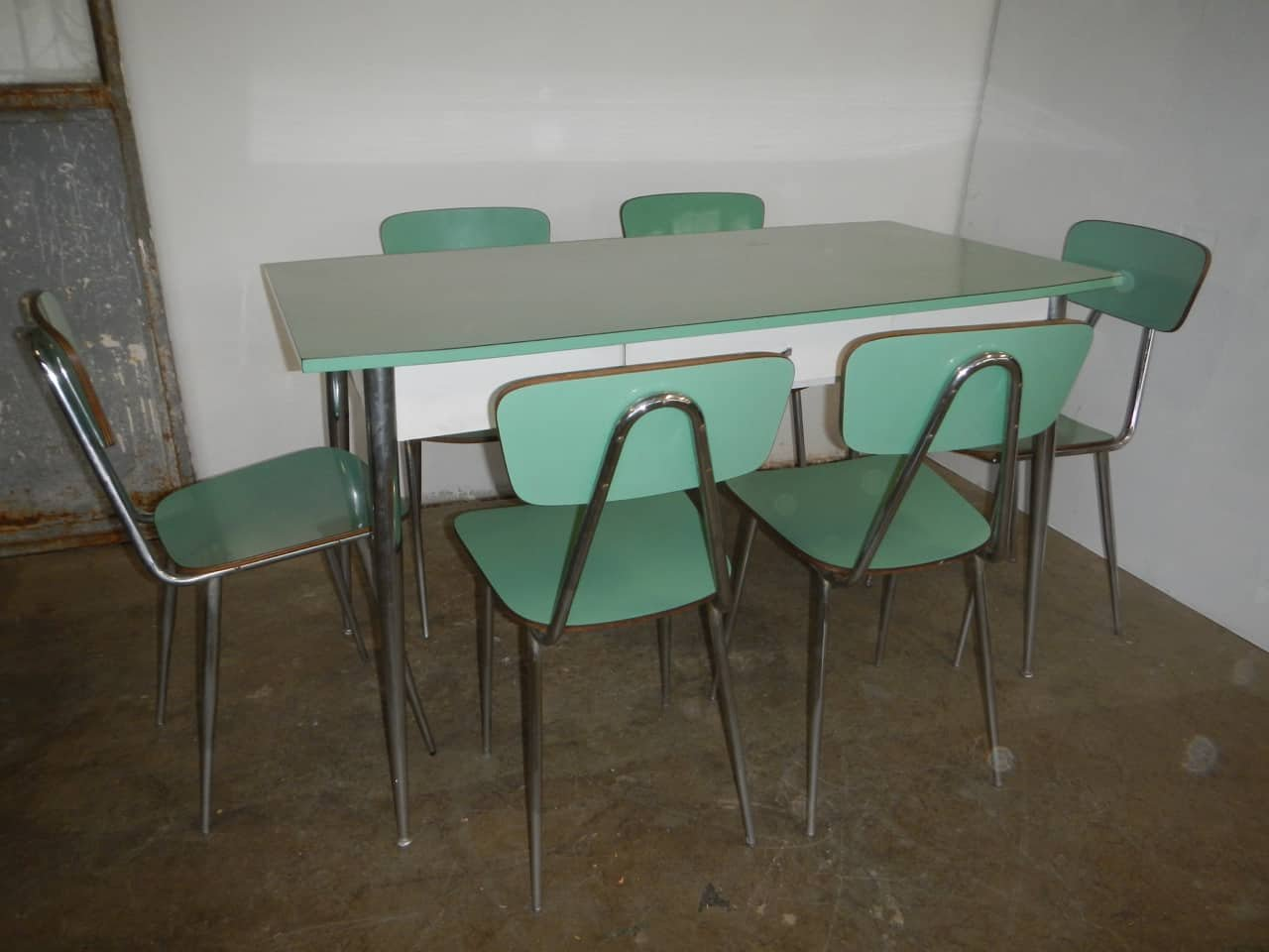 Italian Formica Dining Table & Chairs Set, 9s, Set of 9 bei ...