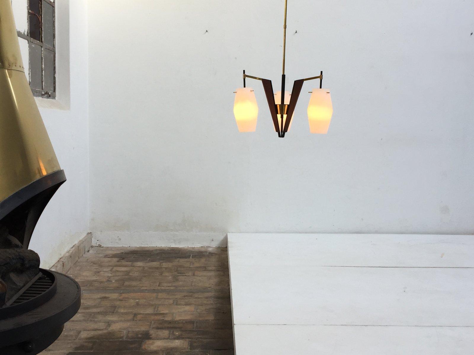 Lampadario In Legno Wood Mania : Lampada a sospensione in teak e ottone italia in vendita su pamono