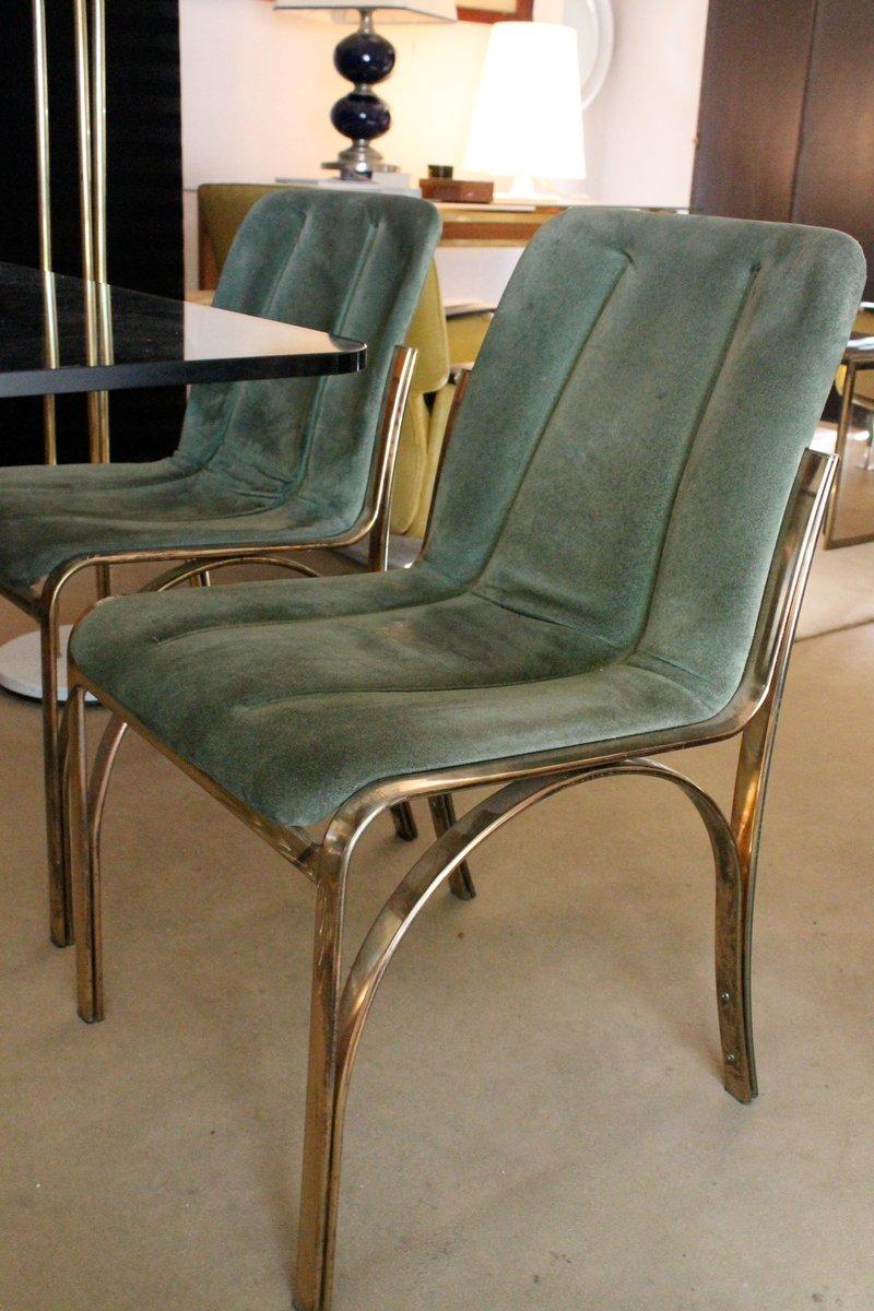 Mesa de comedor italiana de vidrio con 4 sillas 1970 en for Vidrio para mesa de comedor precio