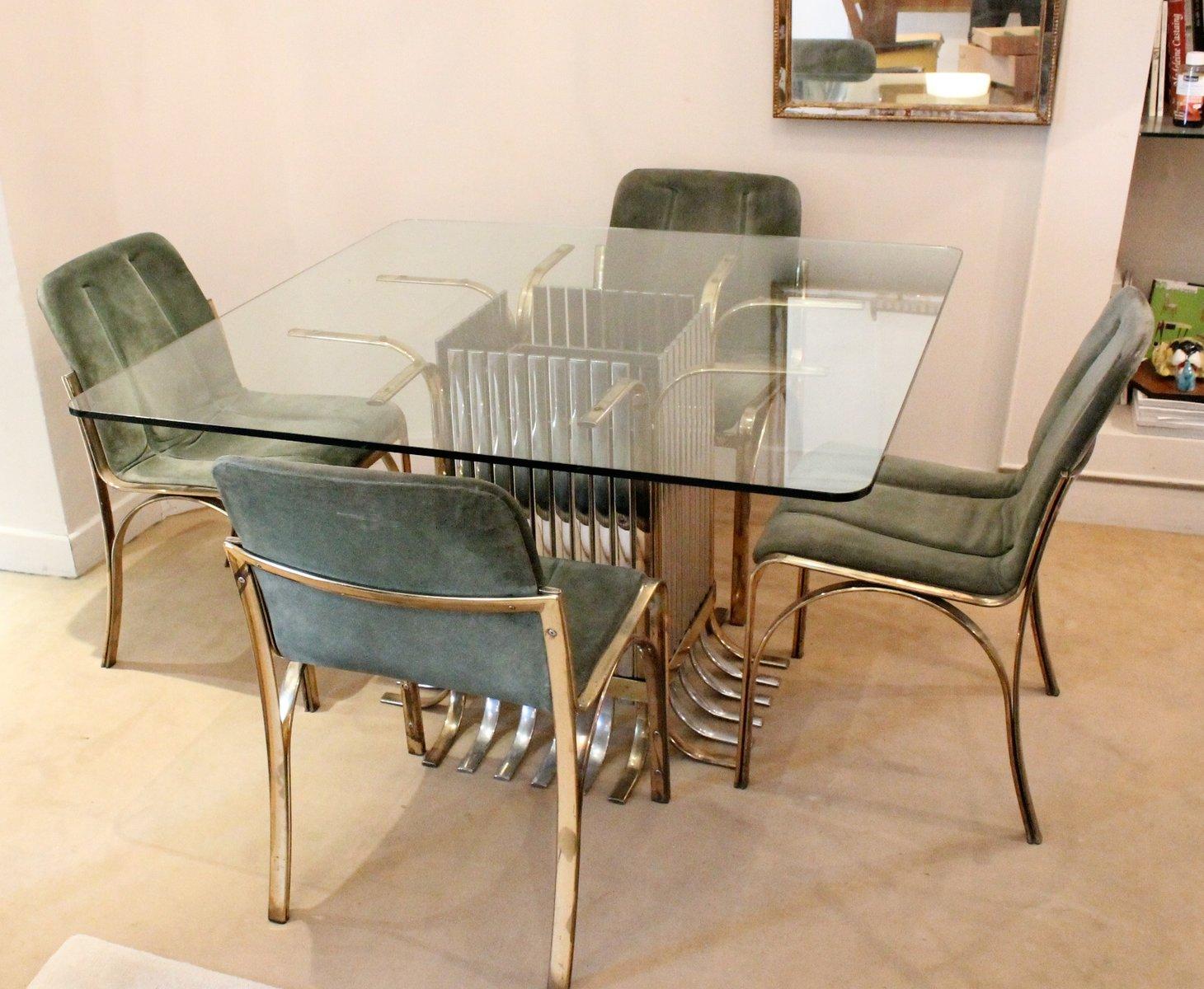 Mesa de comedor italiana de vidrio con 4 sillas 1970 en for Mesas comedor italianas