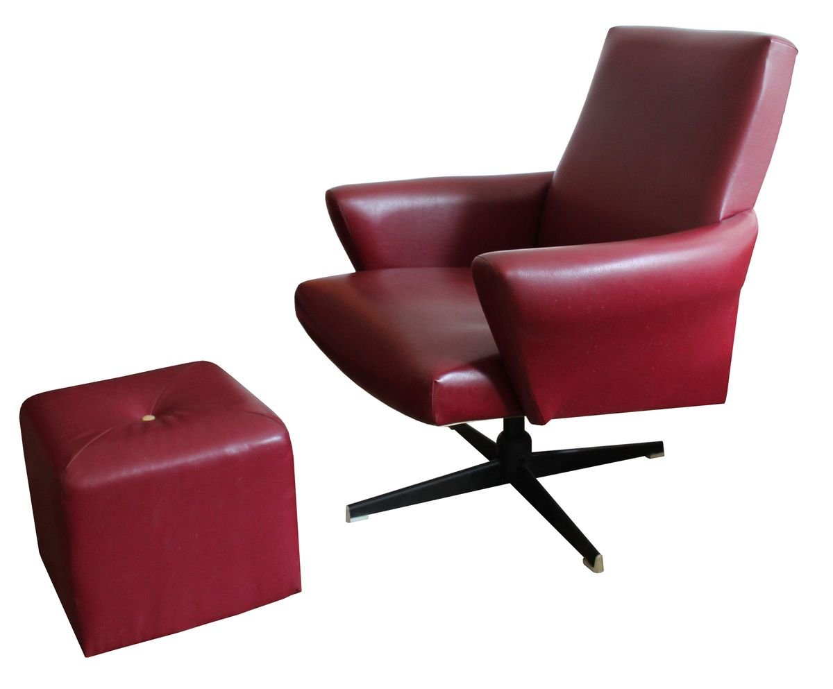 Swivel Chair Ottoman In Burgundy Leather 1970s Set Of 2 For Sale At Pamono [ 993 x 1200 Pixel ]