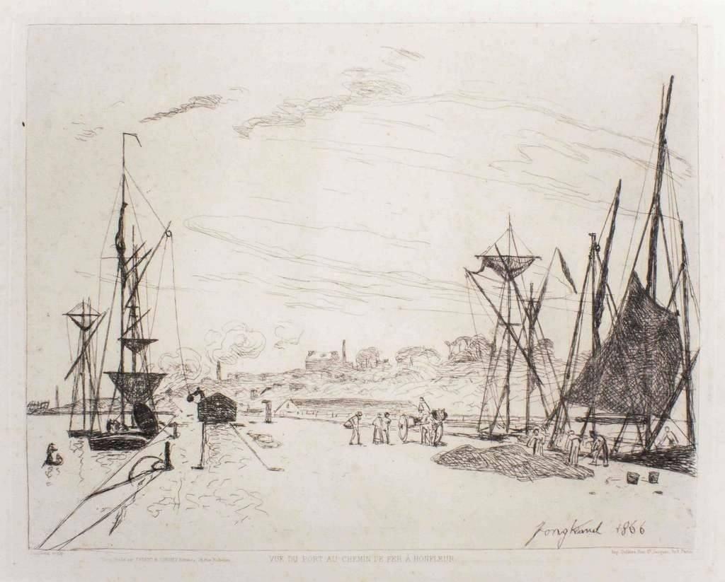 Vue Du Port Au Chemin De Fer à Honfleur 1866 For Sale At Pamono