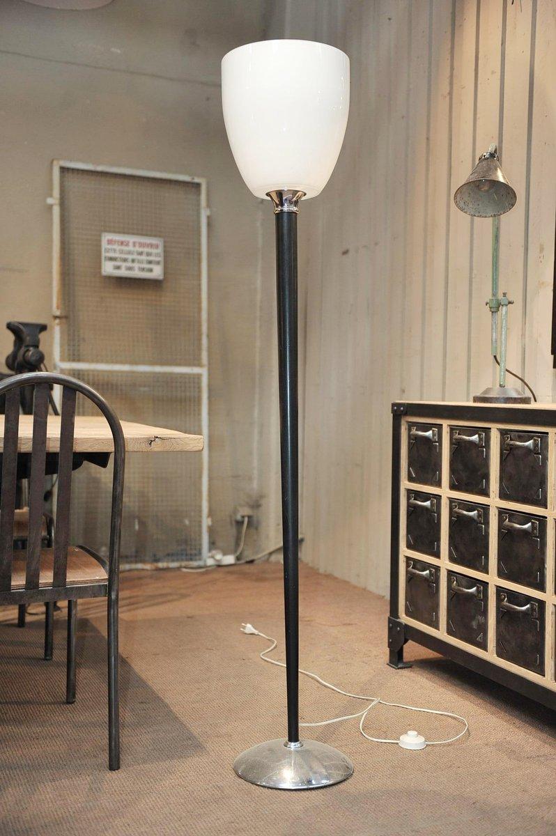 Französische Stehlampe mit Glas Lampenschirm, 1960er