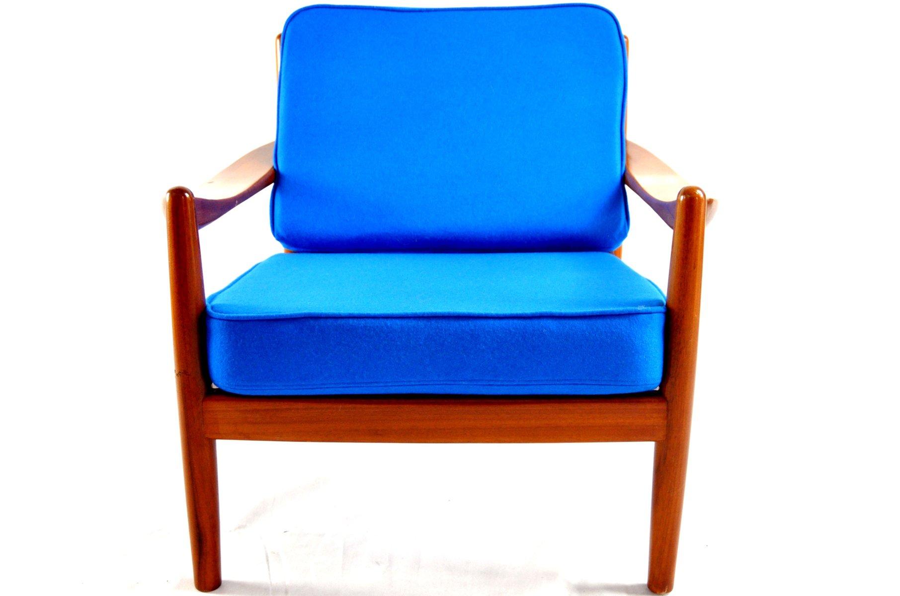 Blue Vintage Danish Lounge Chair