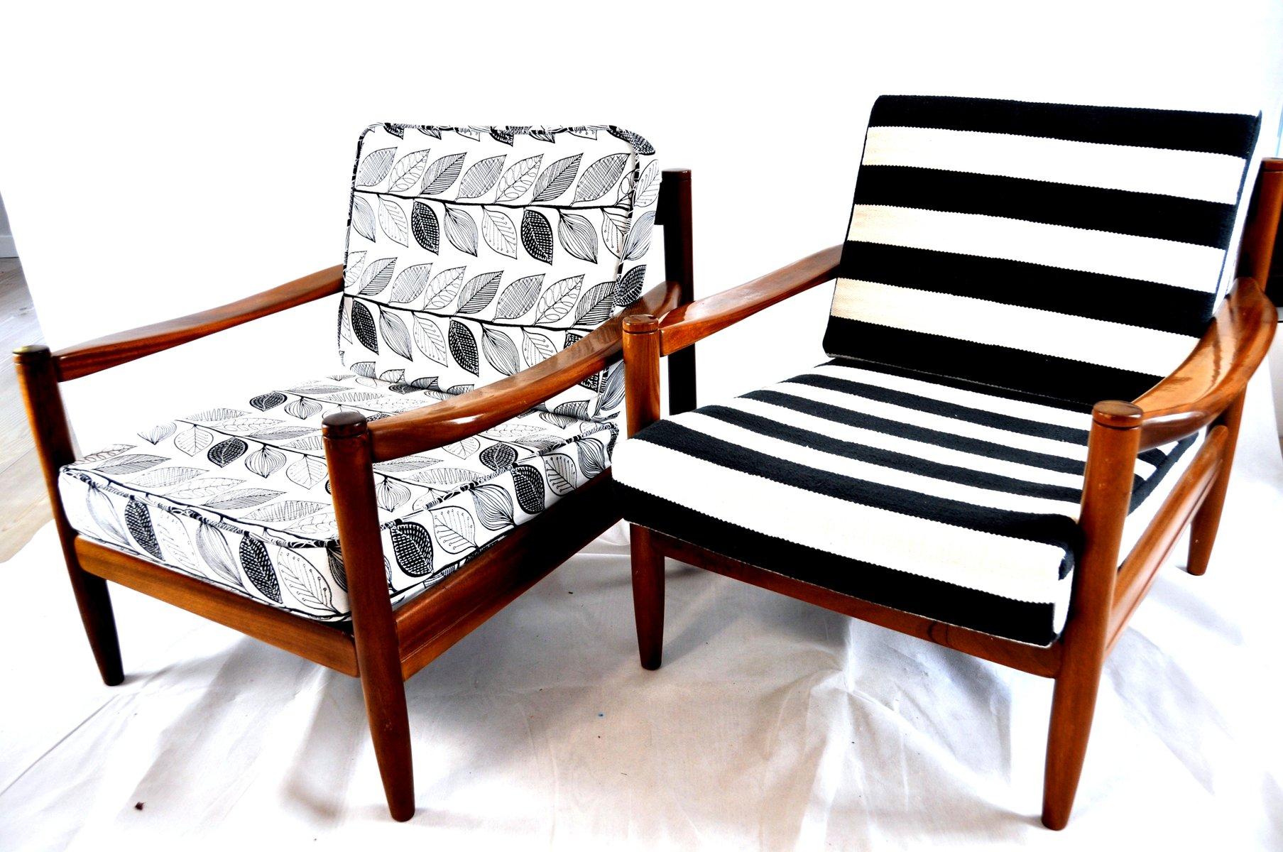 Black And White Striped Vintage Lounge Chair Bei Pamono Kaufen