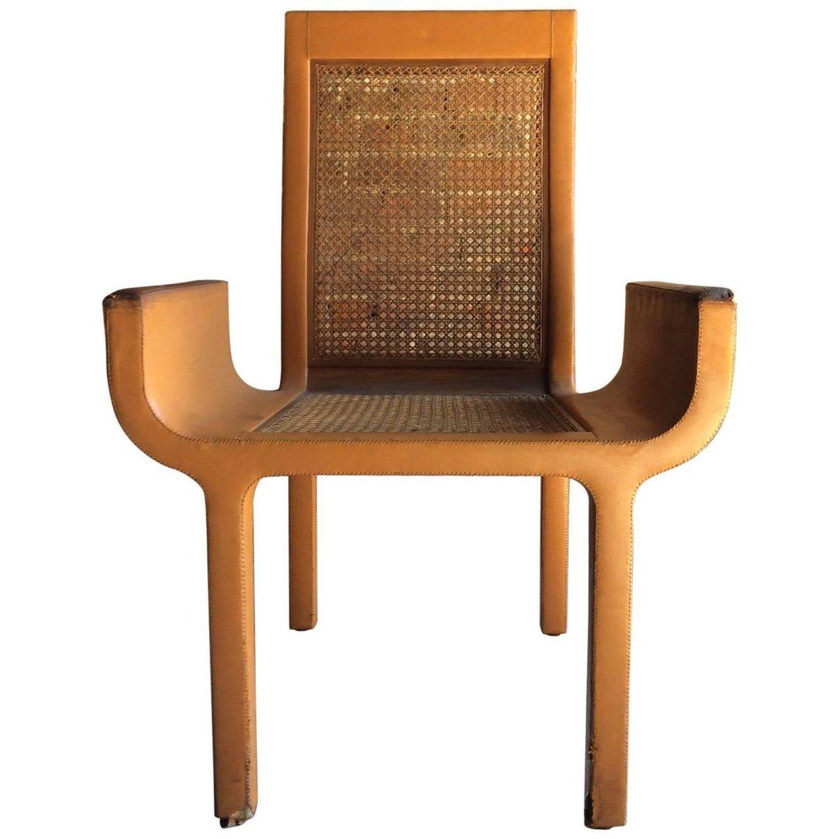 Sessel aus Hellbraunem Leder & Buche von John Makepeace, 1970er