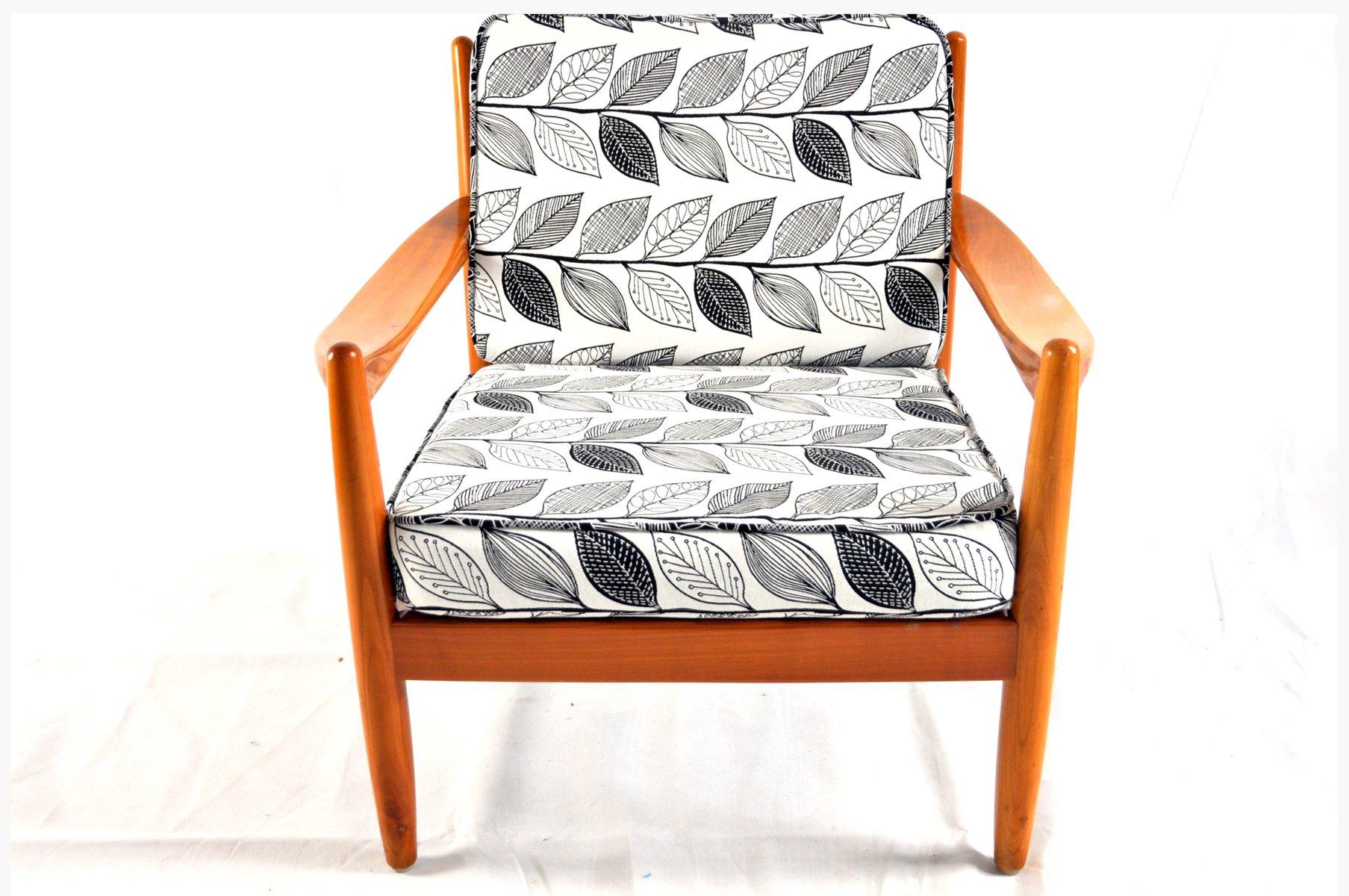 Dänischer Teak Sessel mit Blätter Aufdruck