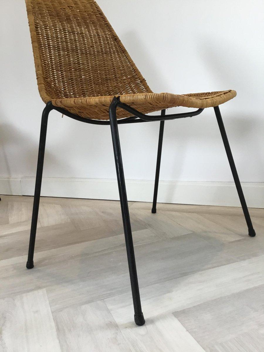 Mid-Century Modern Esszimmerstühle aus Geflecht von Gian ...