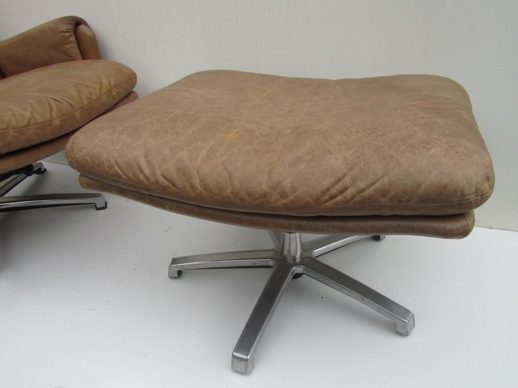 Mid Century Leather Lounge Swivel Chair With Ottoman For