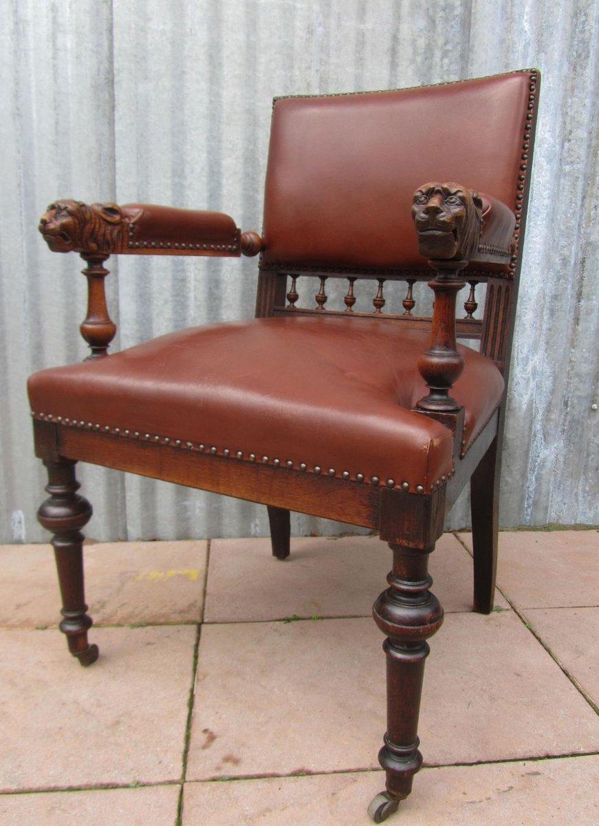 Antique Dutch Carved Oak Lion Head Arm Chair - Antique Dutch Carved Oak Lion Head Arm Chair For Sale At Pamono
