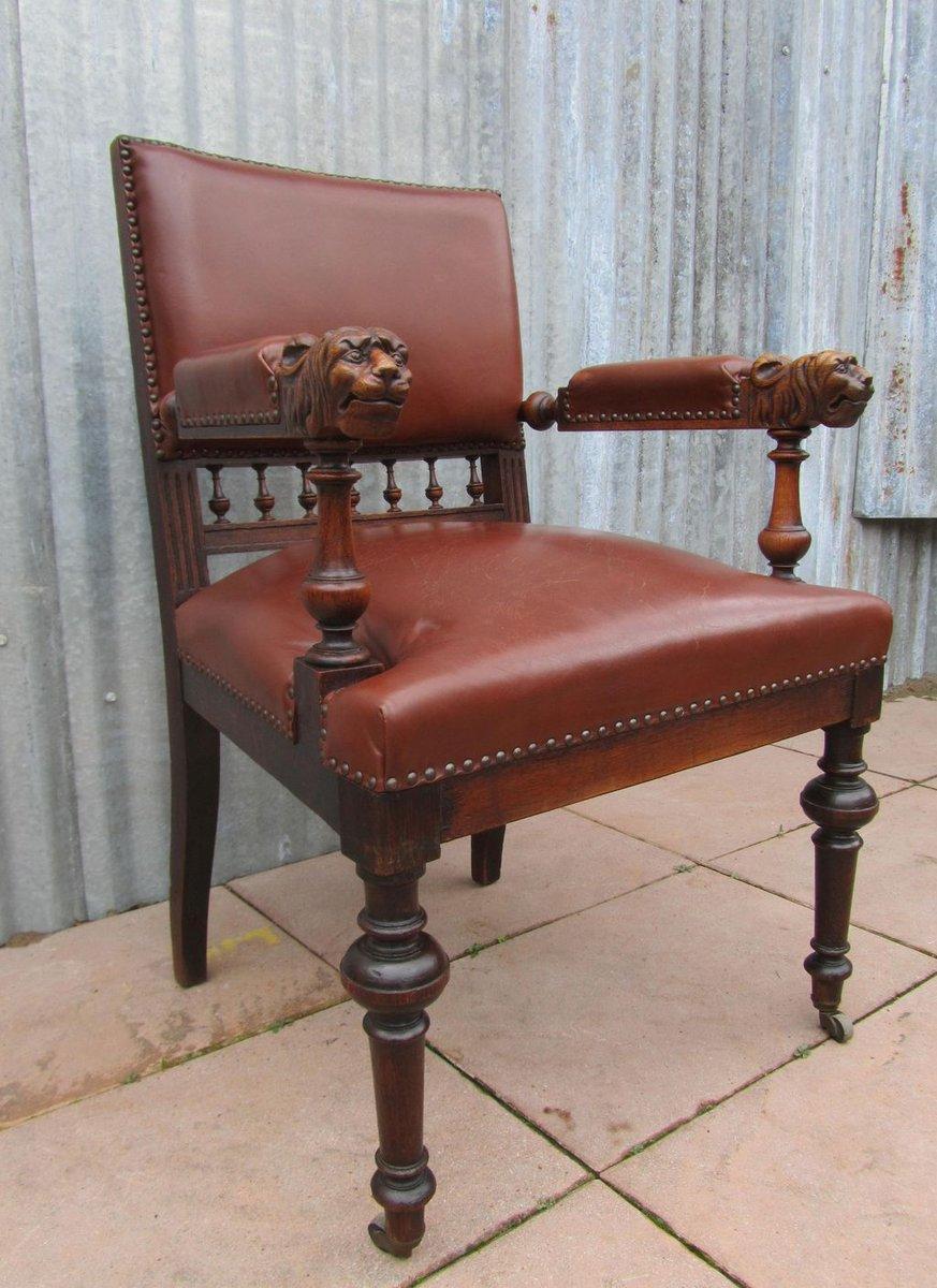 Price per piece - Antique Dutch Carved Oak Lion Head Arm Chair For Sale At Pamono
