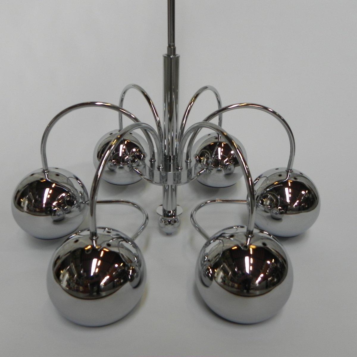 Lampada Da Soffitto Vintage Con 6 Sfere Cromate Anni 60 In Vendita Su Pamono