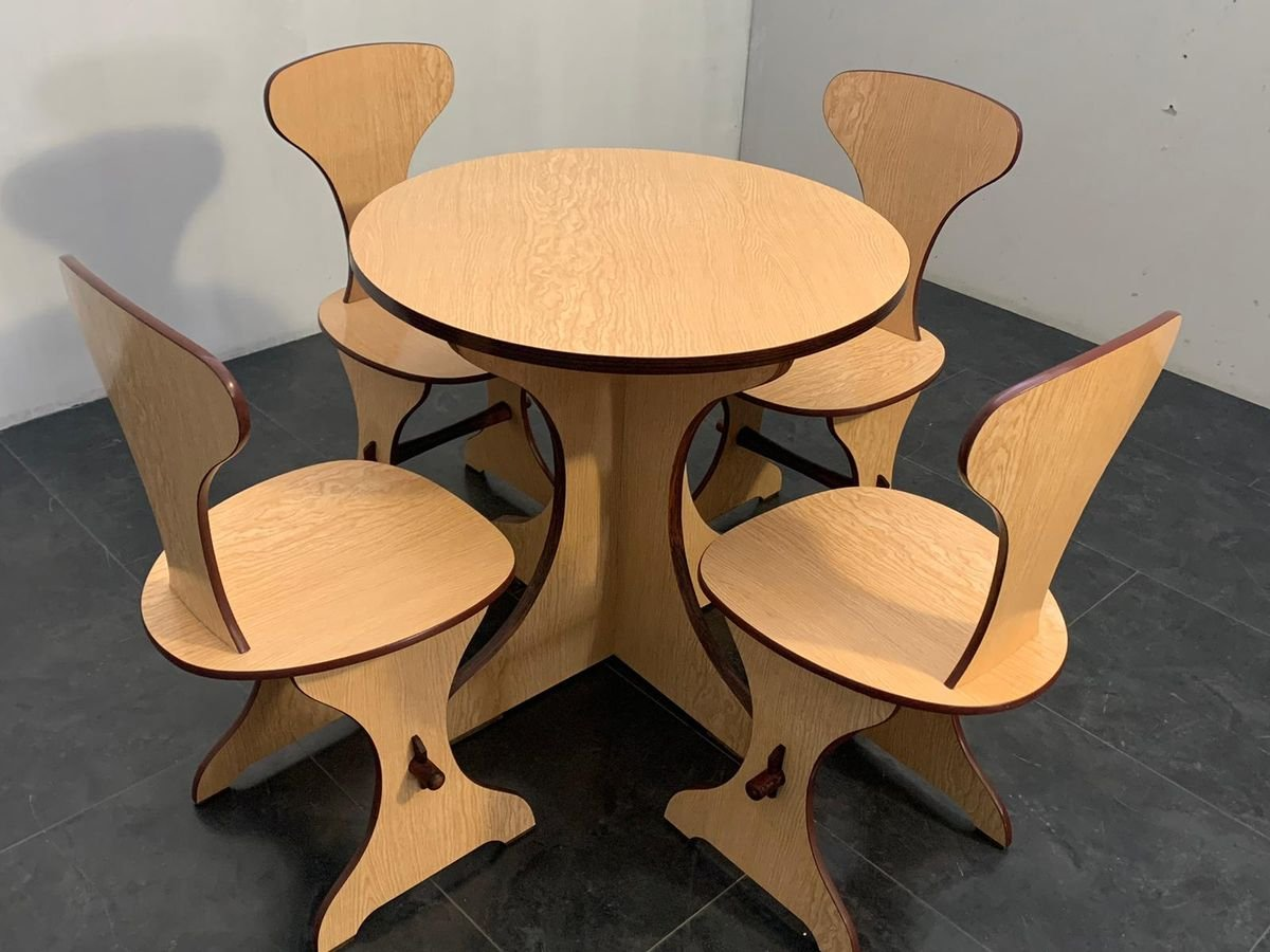 Curved Plywood and Laminate Rosewood Dining Table & Chairs Set from Pedini  Fano, 9s, Set of 9