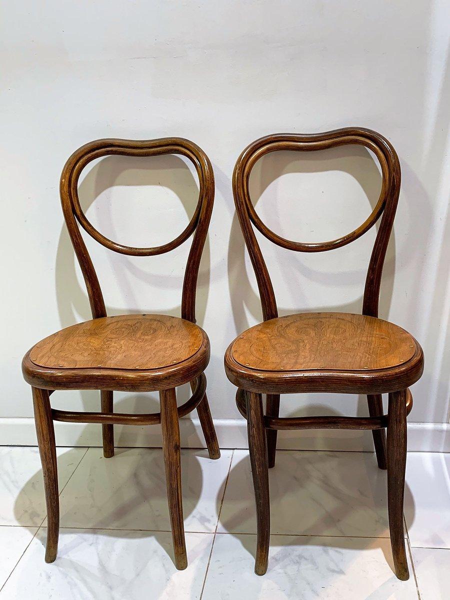 Sedie Antiche Con Seduta In Legno Goffrato Di Michael Thonet Per Gebruder Thonet Vienna Gmbh Set Di 2 In Vendita Su Pamono