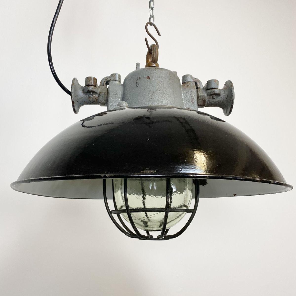 Modern Industrial Porcelain Socket Brass Caged 3 Light Chandelier
