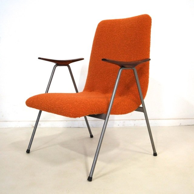 Niederländischer Vintage Stuhl mit Holz Armlehnen
