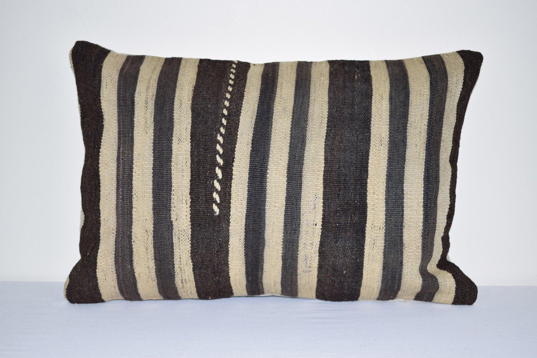 Black Rug pillow vintage Turkish cushion cover   lumbar pillow