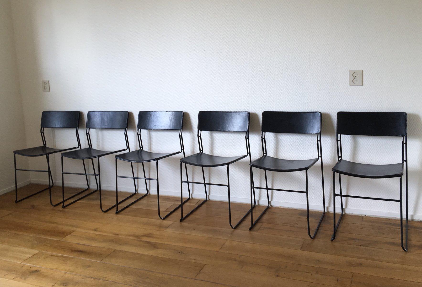 italienische sultana esszimmerst hle aus metall leder von arrben 1970er 6er set bei pamono. Black Bedroom Furniture Sets. Home Design Ideas