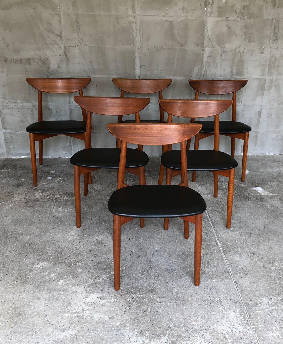 d nische teak st hle von harry ostergaard 1960er 6er set. Black Bedroom Furniture Sets. Home Design Ideas