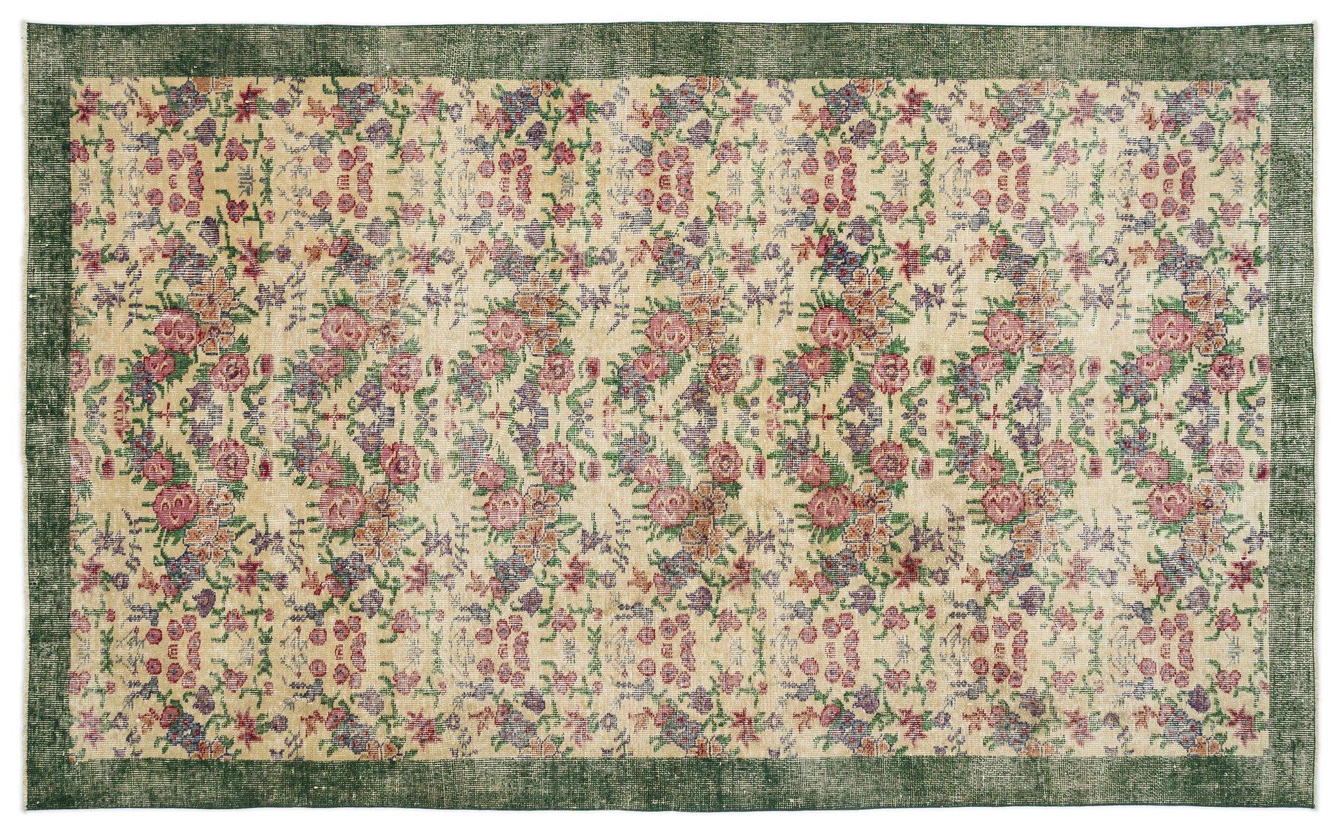 Türkischer Vintage Teppich in Grün und Beige mit Floralem Muster