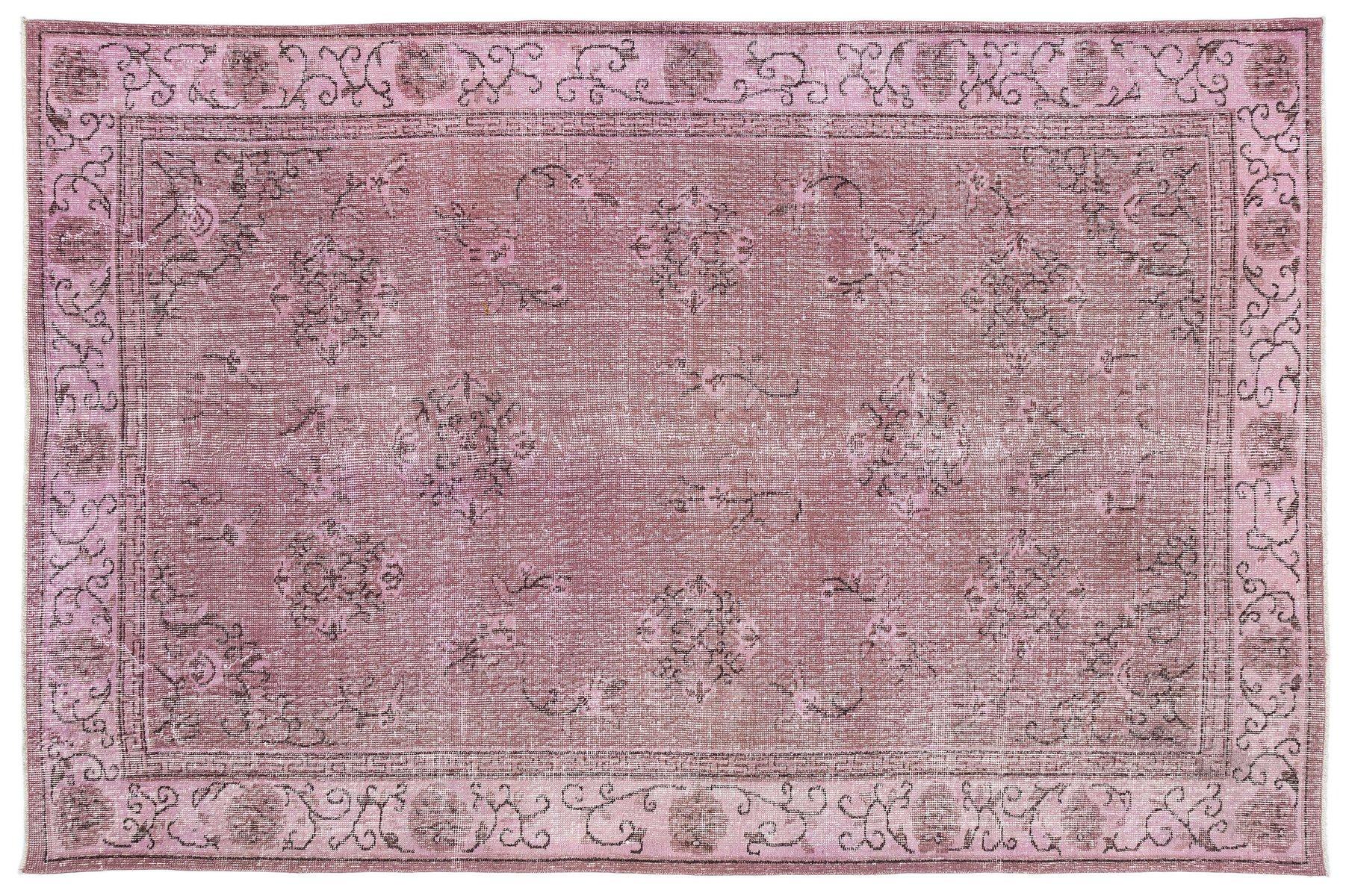 Türkischer Vintage Teppich in Rosa