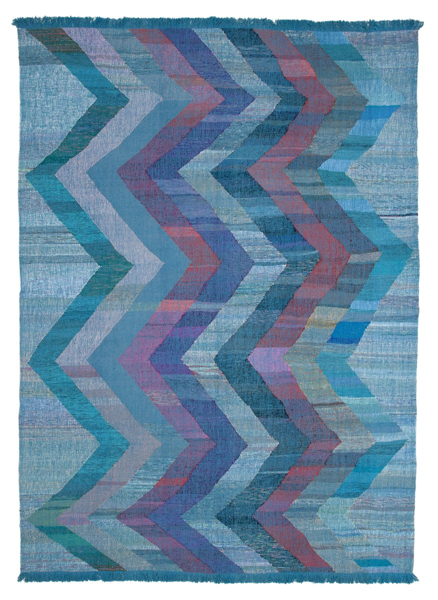 Blue Hand Knotted Geometric Wool Flatwave Kilim Carpet For Sale At Pamono