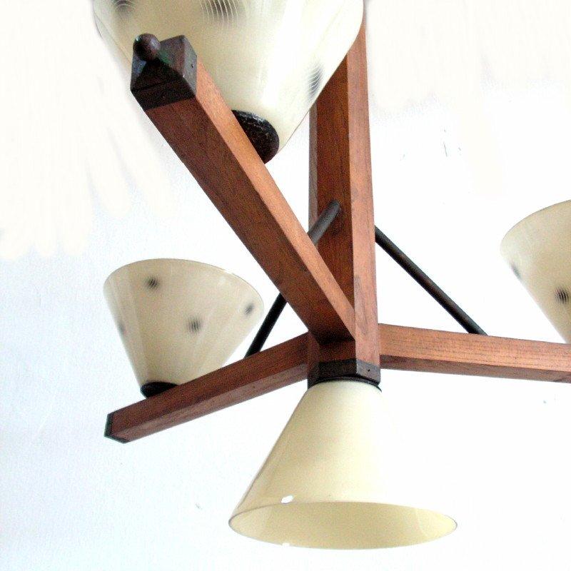 art deco h ngelampe mit vier leuchten 1930er bei pamono. Black Bedroom Furniture Sets. Home Design Ideas