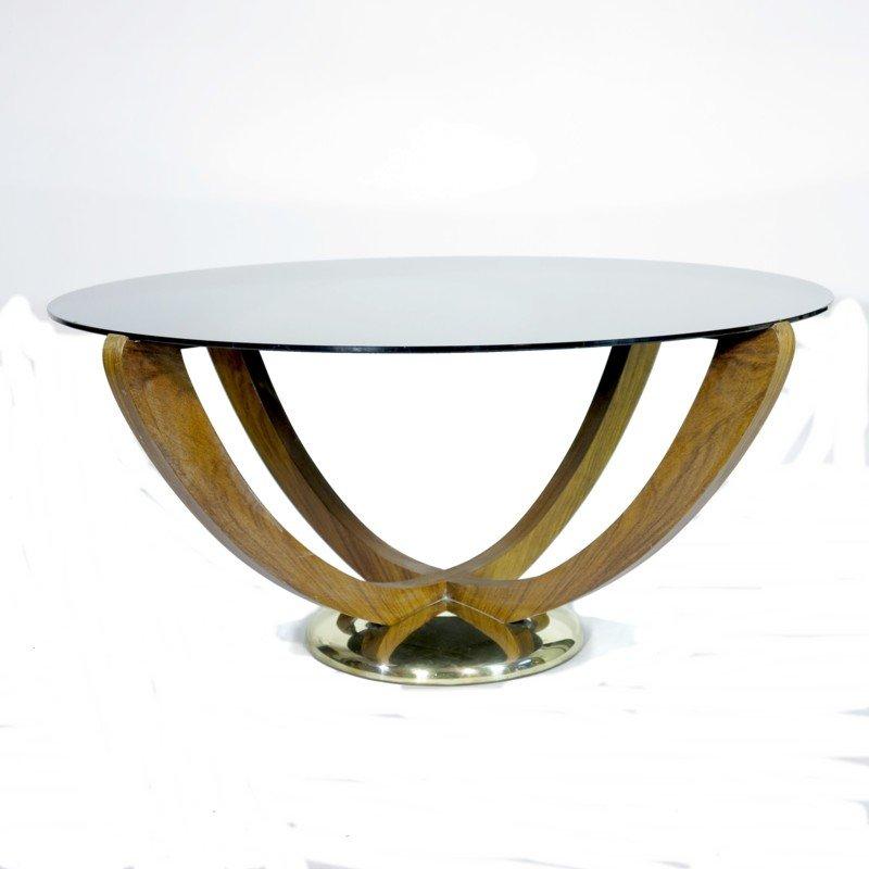 table basse art d co avec dessus en verre noir 1930s en vente sur pamono. Black Bedroom Furniture Sets. Home Design Ideas