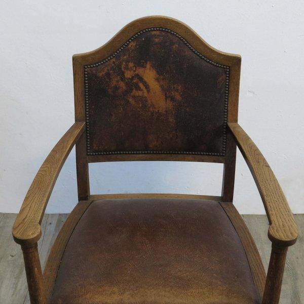 fauteuil vintage art nouveau en cuir en vente sur pamono. Black Bedroom Furniture Sets. Home Design Ideas