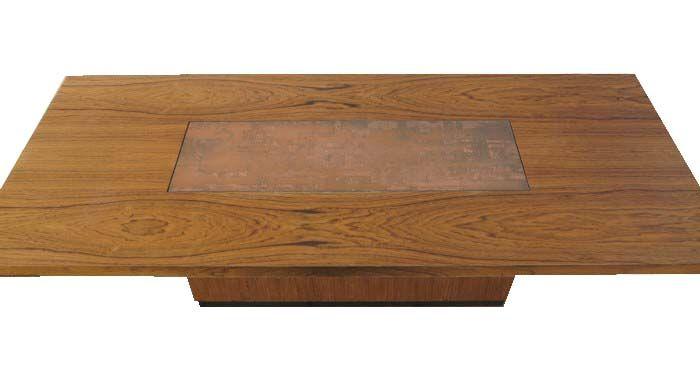 vintage tisch aus holz und kupfer bei pamono kaufen. Black Bedroom Furniture Sets. Home Design Ideas